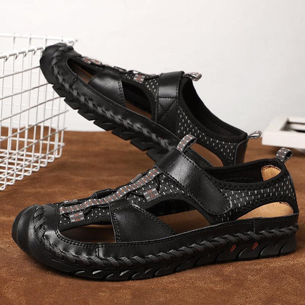 Men's Cow Leather Non Slip Hand Stitching Hook Loop Casual Sandals