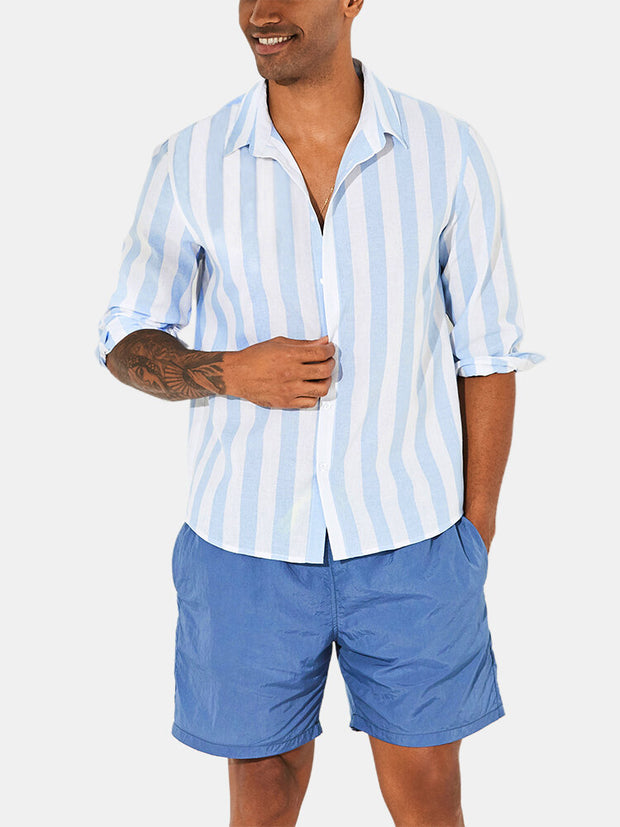 Mens Stripe Printed Breathable Thin Long Sleeve Loose Casual Shirts
