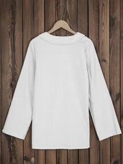 Women Round Neck Solid Cotton-Blend Casual Tops