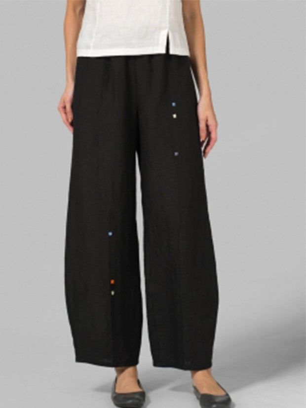 WOMEN'S EMBROIDERED CROP PANTS
