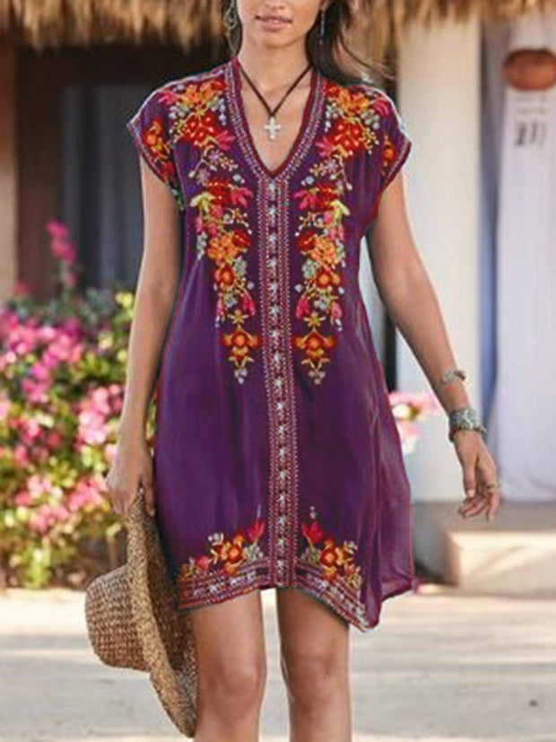 Women Short Sleeve Embroidered Shift V Neck Dresses