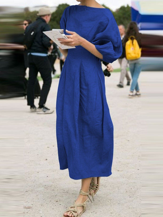 Women's Solid Short Sleeves Elegant Midi Dresses