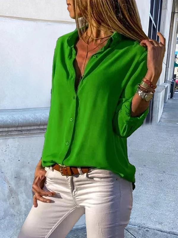 Women's Casual Buttoned Long Sleeve Solid V-Neck Blouse