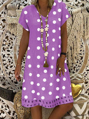 Women's V-Neck Short Sleeve Hollow Polka Dot Summer Dress