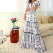 Women's Fashion V-Neck Flutter Sleeve Printed Maxi Dress