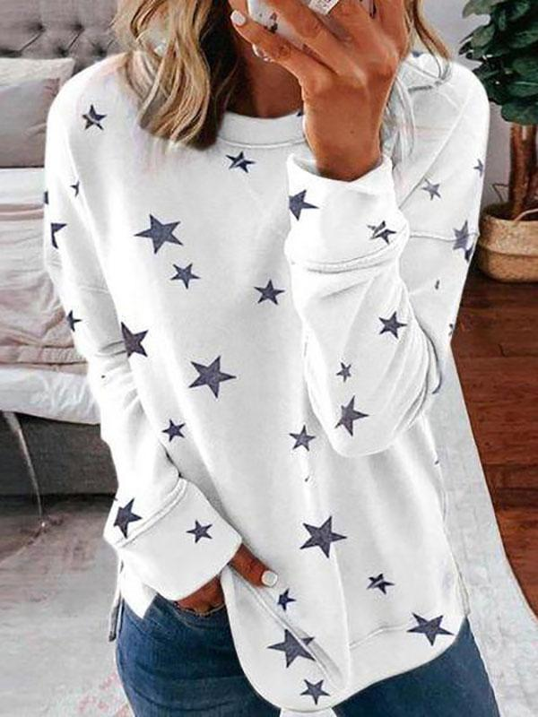 Women's Classy Star Printed Round Neck Long Sleeve Sweatshirt