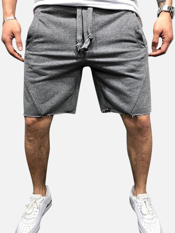 Men's Casual Sports Torn Edge Design Solid Color Drawstring Waist Running Shorts