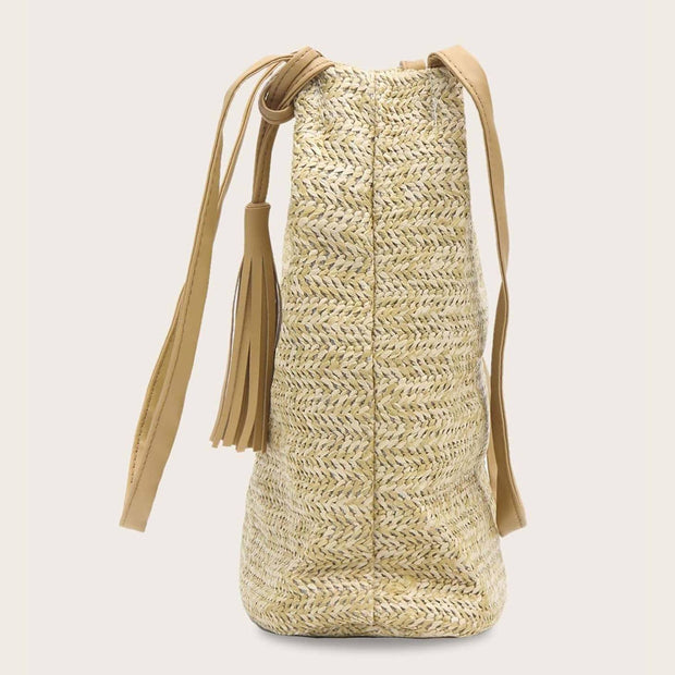 Women's Knitted Tassel Decor Tote Bag