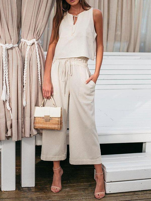 Women's Plain Sleeveless Top And Wide Leg Pants Two-Piece Set