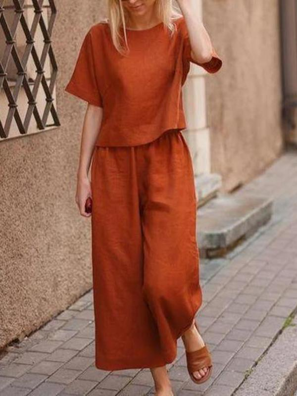 Women's Fashion Short Sleeve Top With Wide Leg Pants Set