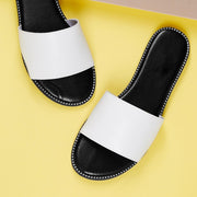 Women's Metal Ball Detail Wide Strap Flat Mule Sandals