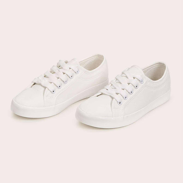 Women's Solid Lace Up Flat Trainers