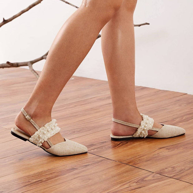 Women's Faux Pears & Raw Hem Band Slingback Flats