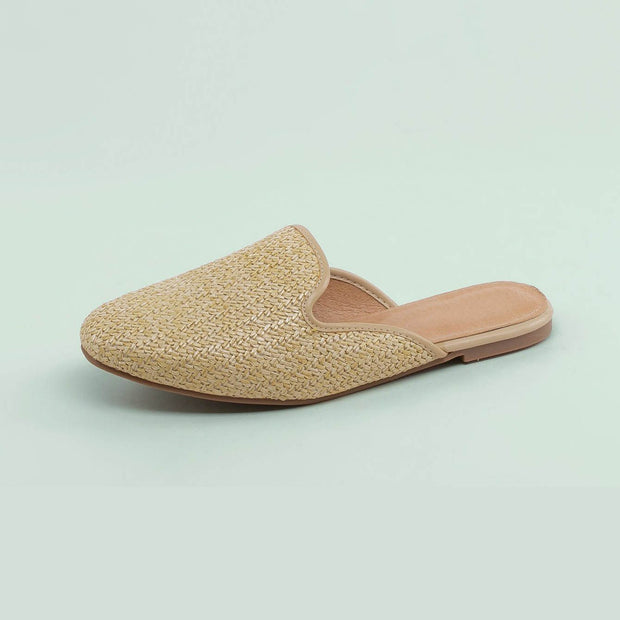 Women's Woven Raffia Almond Toe Open Back Flats