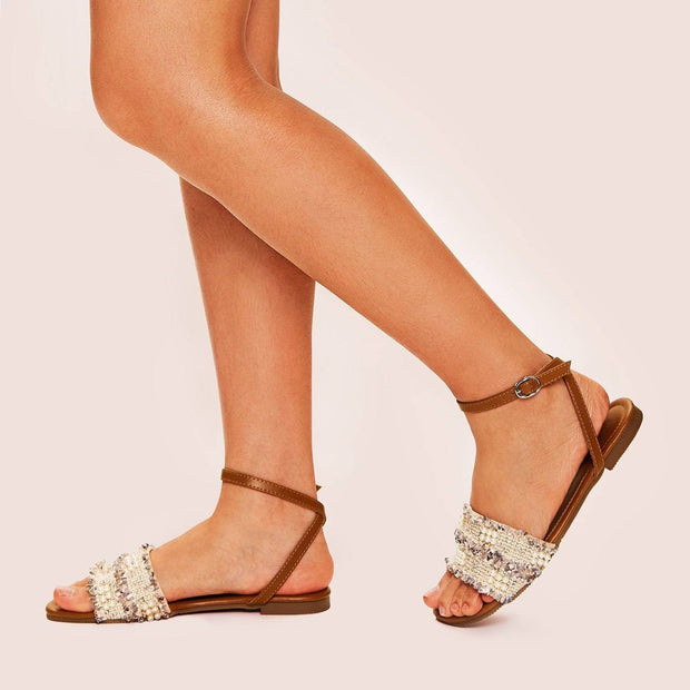Women's Beaded Ankle Strap Tweed Sandals