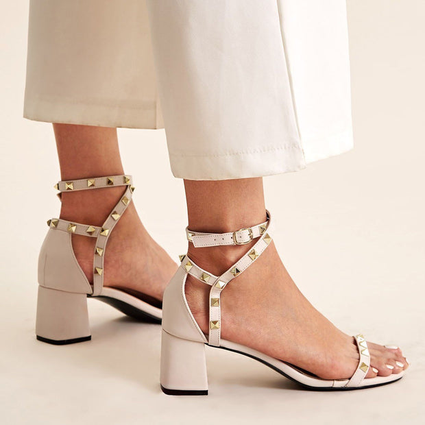 Women's Studded Decor Ankle Strap Chunky Heels