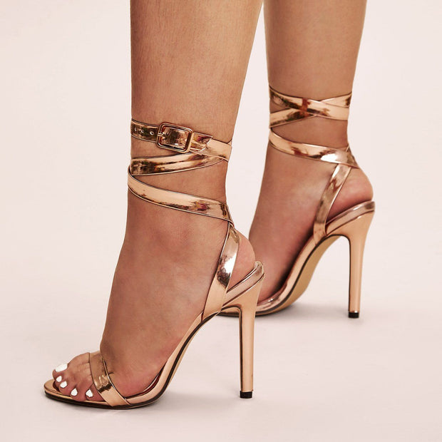 Women's Ankle Strap Metallic Stiletto Heels