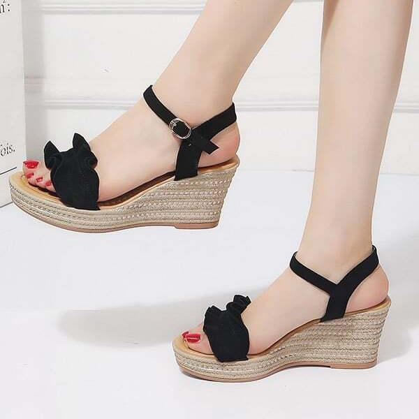 Women's Ruffle Decor Ankle Strap Wedge Sandals