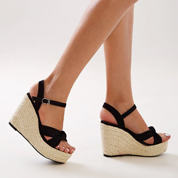 Women's Open Toe Cross Strap Espadrille Wedges