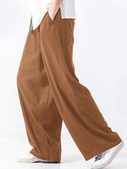 Mens Cotton Solid Baggy Elastic Waist Casual Wide Leg Pants