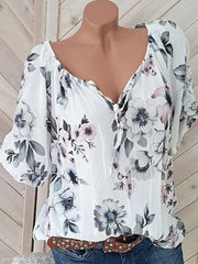 Tie Collar Floral Short Sleeve Blouse