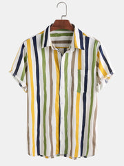Men Linen Lightweight Breathable Color Striped Short Sleeve Shirt