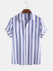 Mens Cotton Thin Light & Breathable Vertical Stripe Short Sleeve Shirt
