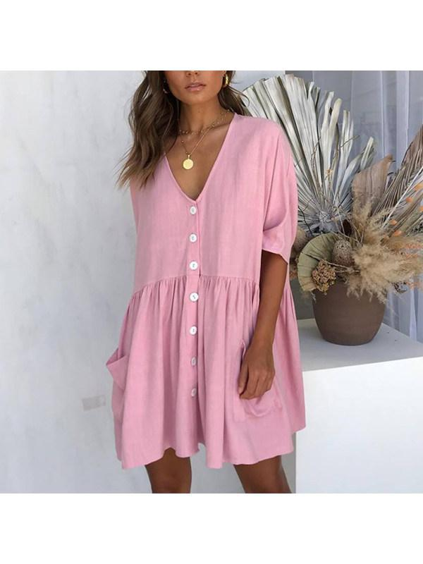 Women's Solid Color Casual Loose Pockets Mini Dress