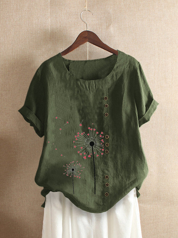 Women's Vintage Printed Short Sleeve O-Neck Overhead Button T-shirt
