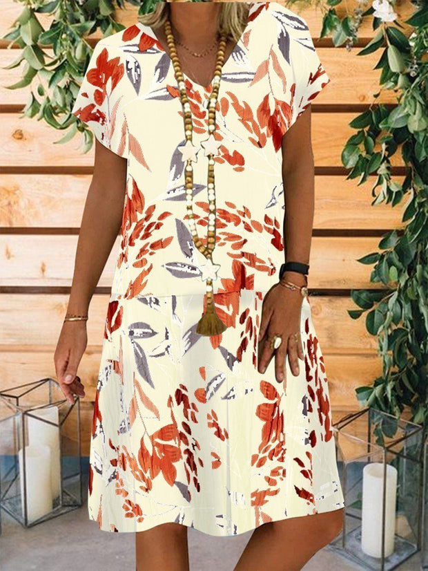 Women Short Sleeve V-neck Floral Printed Pockets Midi Dress