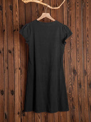 Women Vintage V-Neck Solid Summer Casual Dress