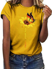 Butterfly Sunflower Round Neck Short Sleeve T-shirts