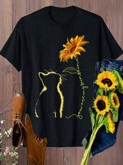 Plus Size Women Short Sleeve Sunflower Printed T-shirt