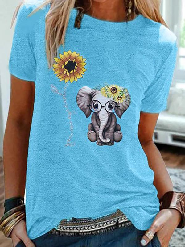 Plus Size Elephant Printed Casual Sunflower Tshirts