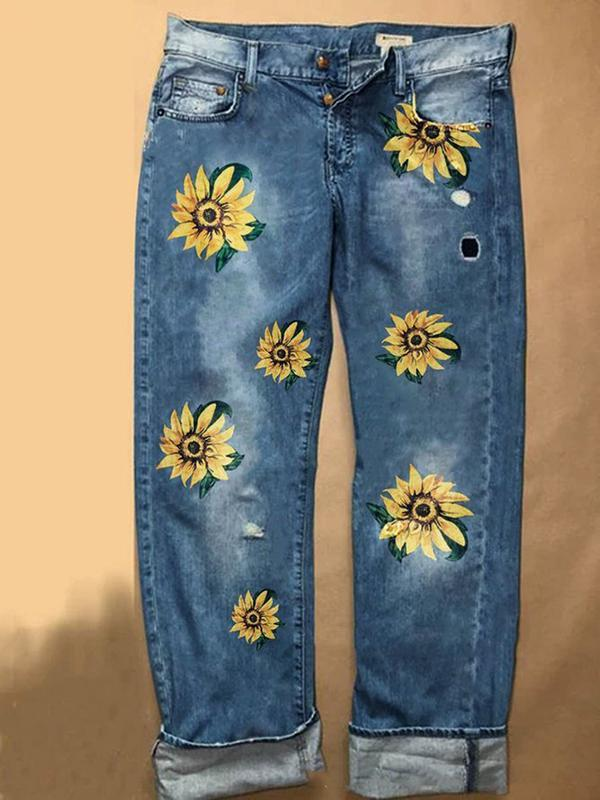 Plus Size Women S-3XL Sunflower Embroidery Jeans