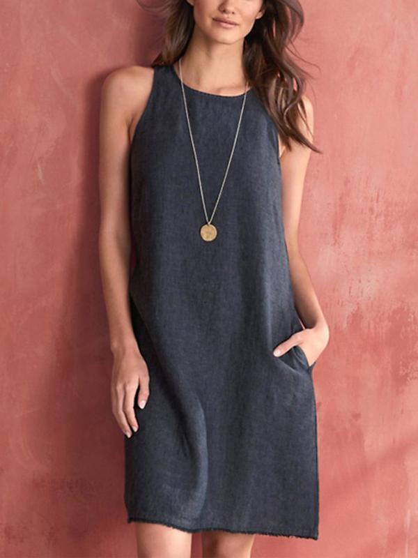 Women's Sleeveless Casual Solid Dresses