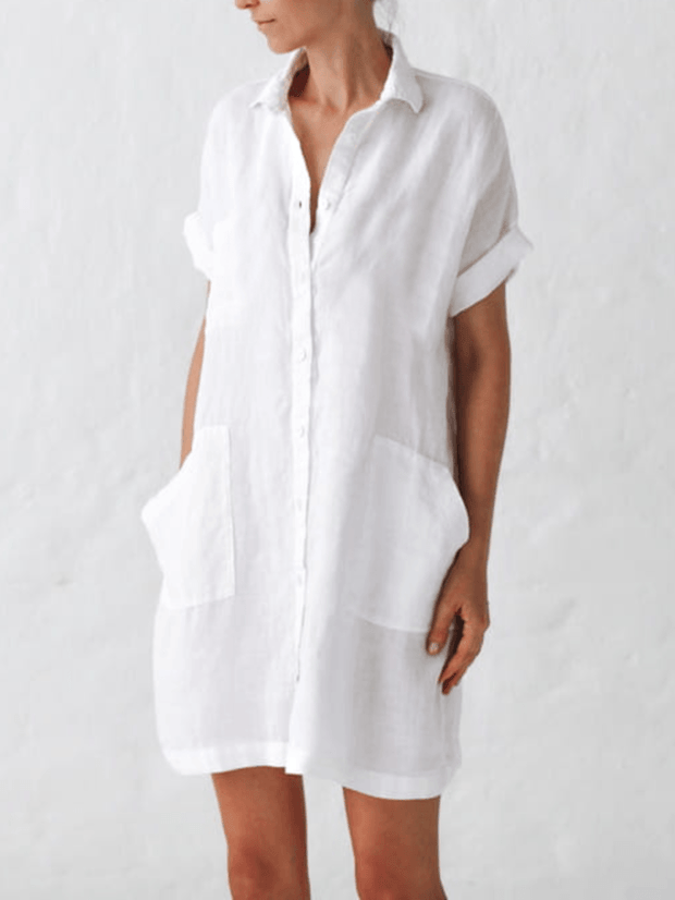 White Solid Cotton-Blend Casual Dresses