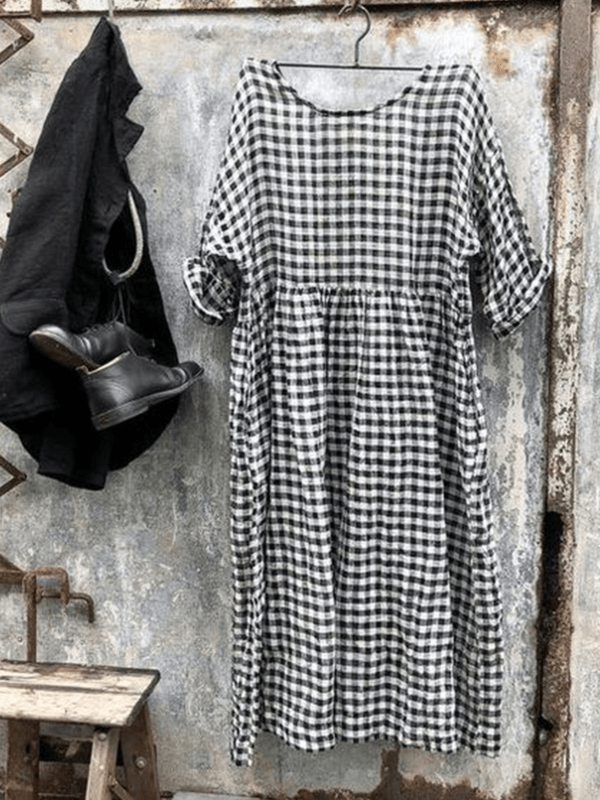 Women's Checkered Casual Short Sleeve Dresses