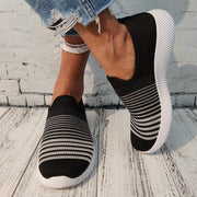 Women's Casual Stripe Contrast Color Breathable Flat Sneakers