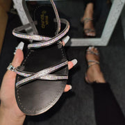 Women's Large Size Summer Rhinestone Cross-Strap Flat Sandals