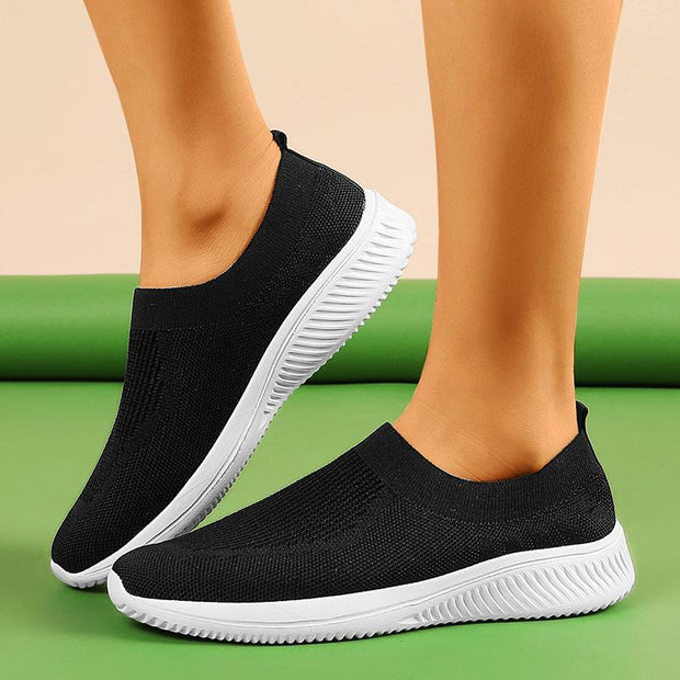 Women's Casual Contrast Color Breathable Slip On Sneakers