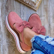 Women's summer comfortable bow suede sneakers