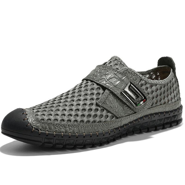 Men's Summer Breathable Large Size Hand-stitched Leather Mesh Shoes