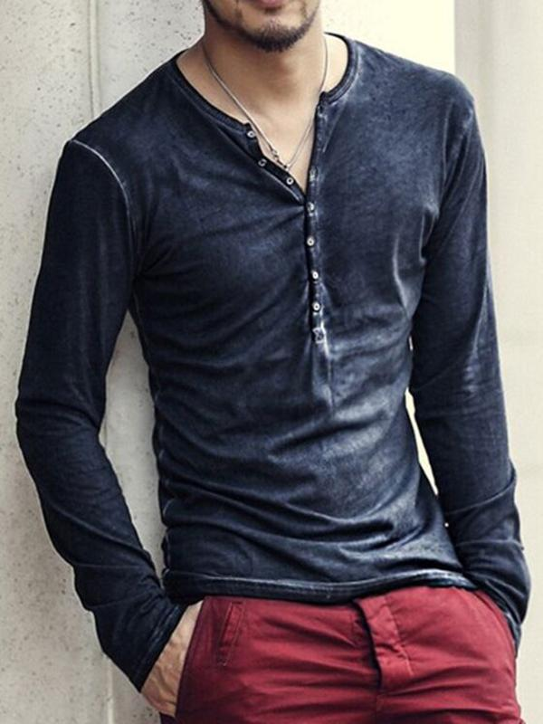 Men's casual long-sleeved henley shirt