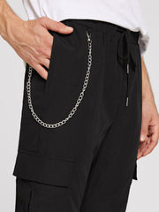 Men Drawstring Waist Flap Pocket Pants With Chain