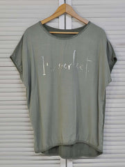 Women's Dark Green Letter Short Sleeve Print Shirts