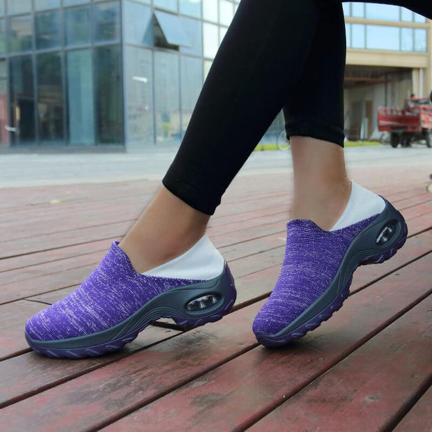 Women's Athletic Flyknit Fabric Slip On Platform Sneakers