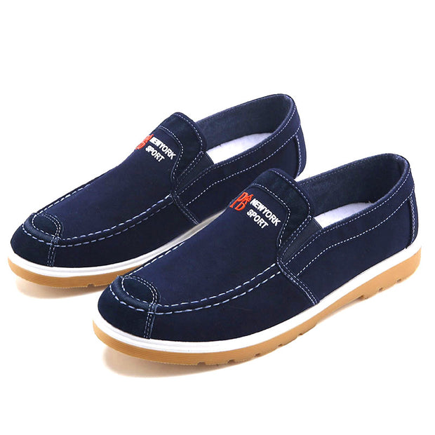 Men's Washed Canvas Comfy Soft Sole Slip On Casual Shoes