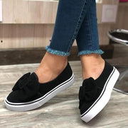 Women's Suede Bowknot Slip On Flat Heel Skate Shoes