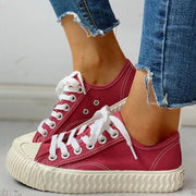 Women's Colorblock Casual Lace-Up Sneakers